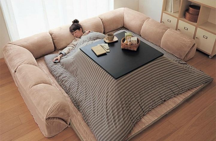 Kotatsu Is A Japanese Table That Offers The Comfort Of A Giant Intended For Giant Sofa Beds (View 5 of 20)