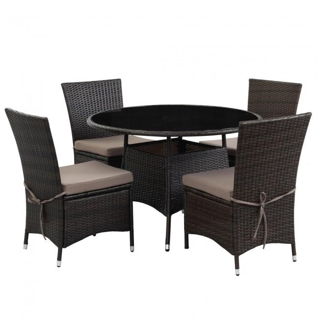 Ksp Social Outdoor Dining Table & Chairs – Set Of 5 (Espresso Inside Dining Table Chair Sets (Image 14 of 20)