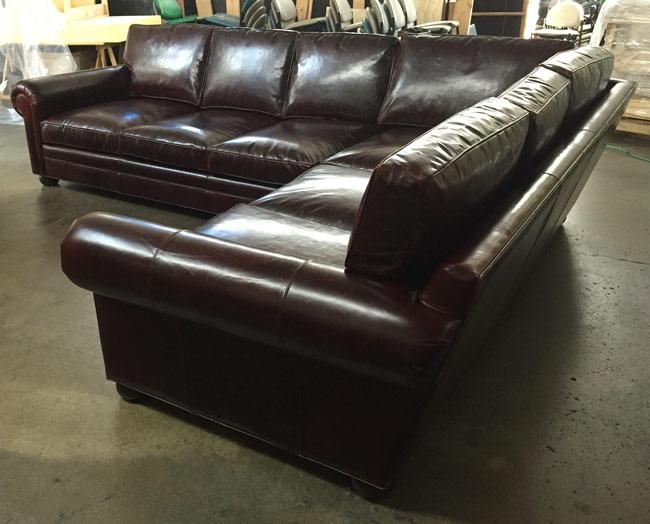 Laf Langston L Sectional In Italian Brompton Walnut Leather | The For Brompton Leather Sectional Sofas (Image 9 of 20)