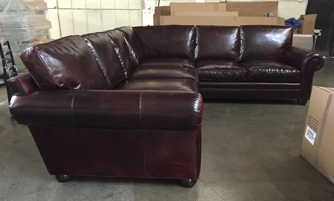 Laf Langston L Sectional In Italian Brompton Walnut Leather | The Inside Brompton Leather Sectional Sofas (Image 11 of 20)