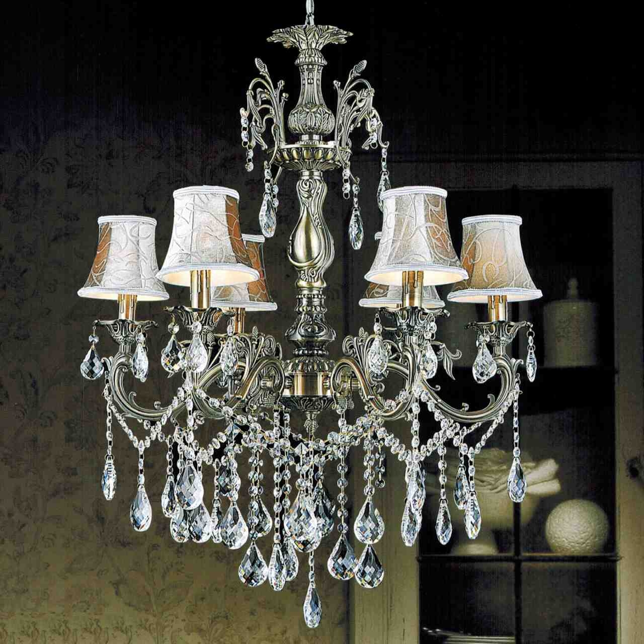 Lamps Crystal Chandelier Lamp Shades Cool Home Design Throughout Crystal Chandeliers With Shades (View 8 of 25)