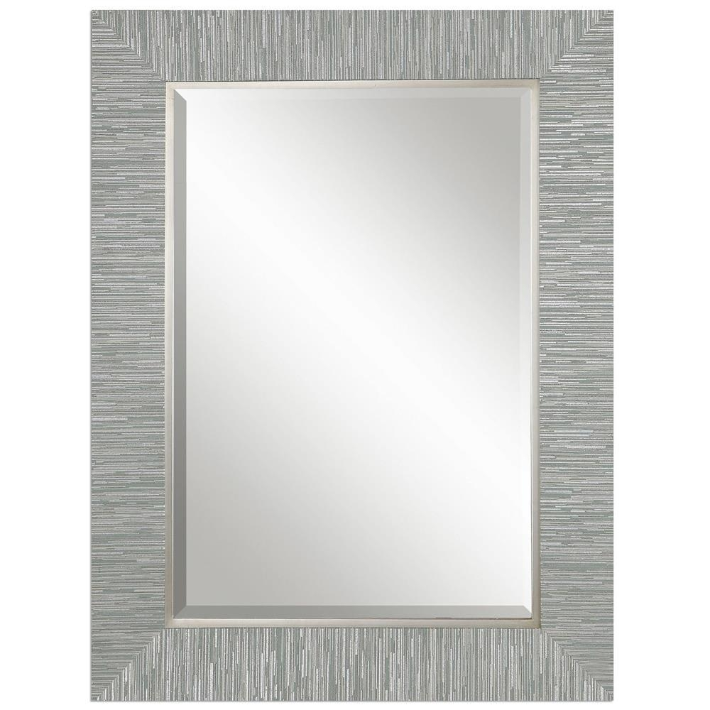 Landen Modern Classic Textured Silver Stripe Beveled Mirror For Modern Silver Mirror (Image 9 of 20)