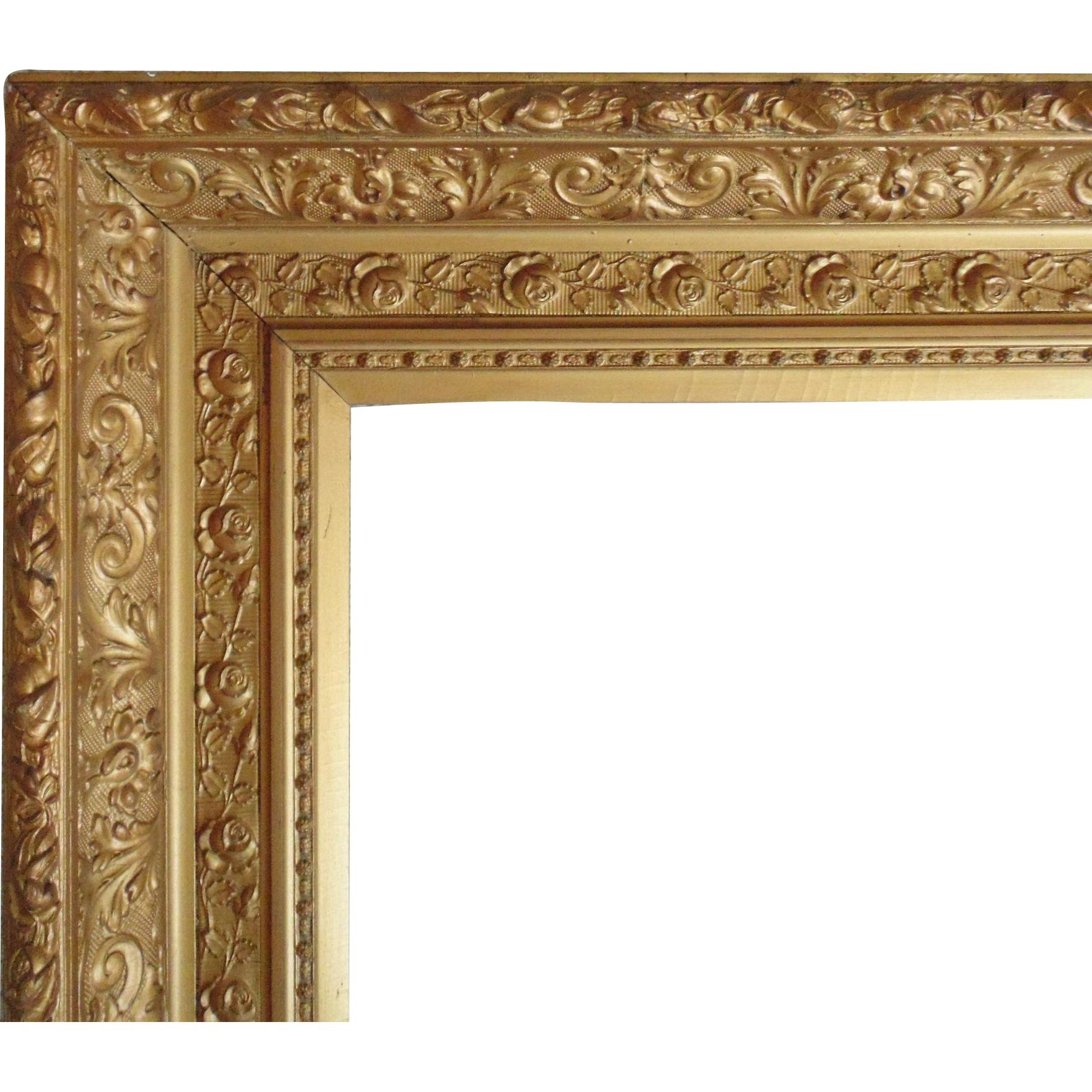 Large 19C Antique Picture Frame Gilt Wood & Gesso Victorian Roses Throughout Antique Gilt Mirror (Image 15 of 20)