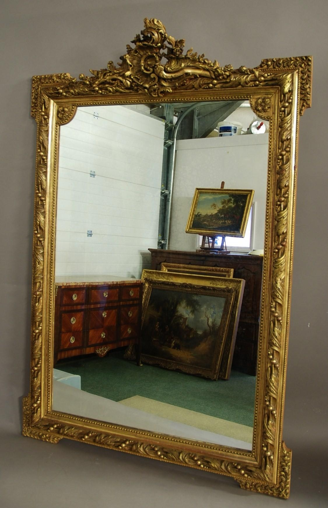 Large 19Th Century Ornate French Gilt Mirror (1880 France) From Intended For Large Gilt Mirror (Image 5 of 20)