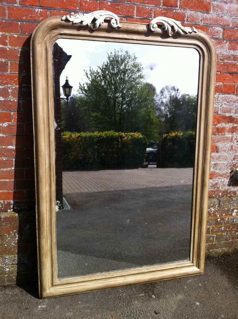 Large 19Th Century Painted Wall/floor Standing Mirror – Antique For Antique Mirrors Large (Image 11 of 20)