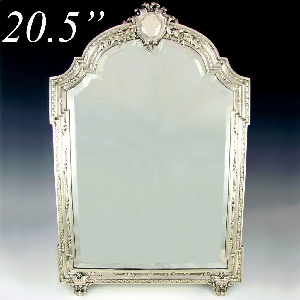 Large Antique 19C French Sterling Silver Beveled Glass Table Top With Regard To Antique Silver Mirror (View 20 of 20)