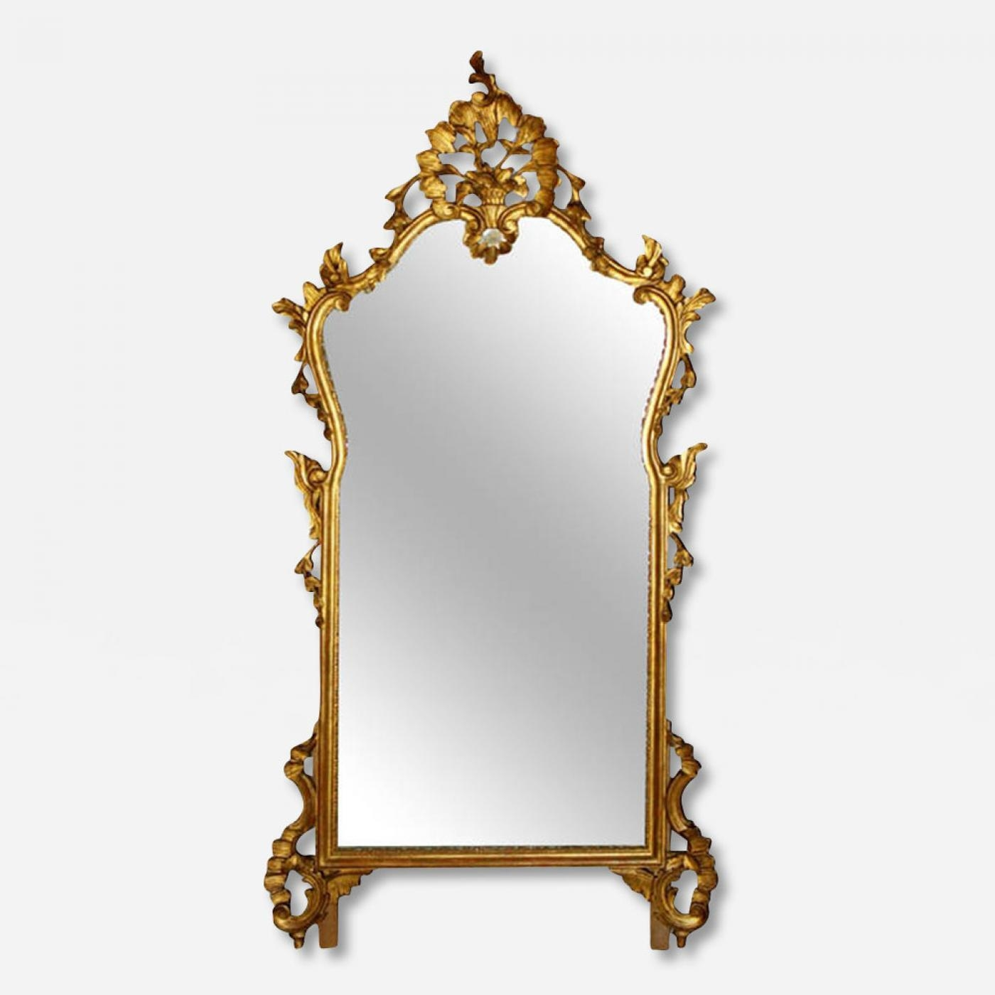 Large Antique French Carved Gilt Wood Mirror Throughout French Wall Mirrors (Image 9 of 20)