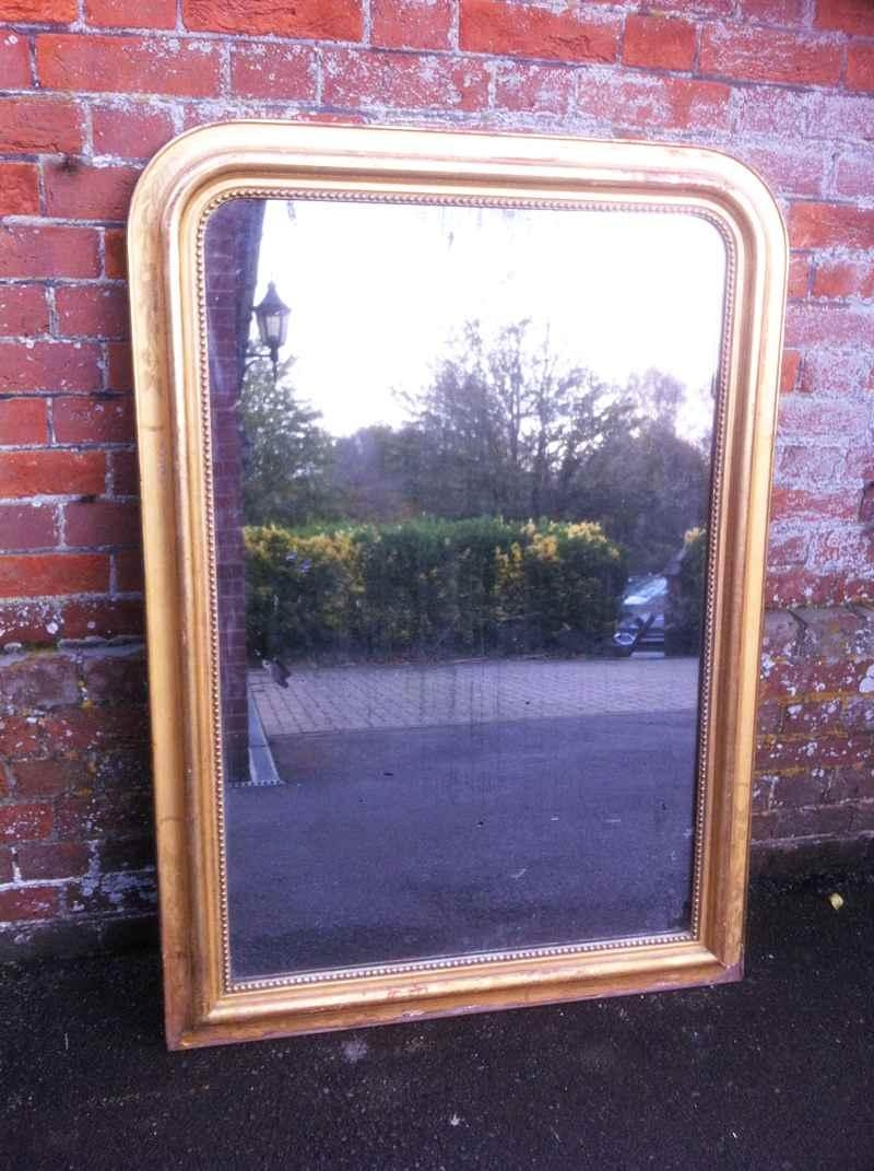 Large Antique French Gilt Carved Wood And Gesso Arched Top Mirror With Curved Top Mirror (Image 13 of 20)