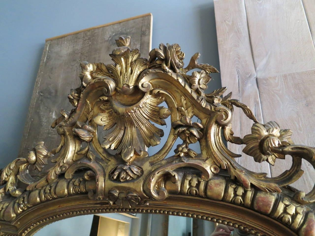 Large Antique French Gold Gilt Mirror At 1Stdibs Within Antique Gilt Mirror (Image 16 of 20)