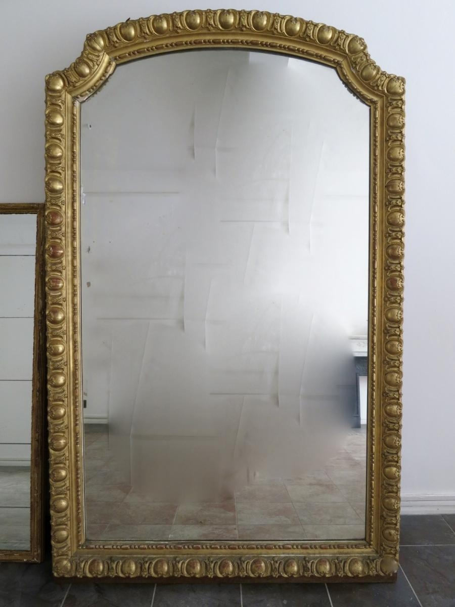 Large Antique French Gold Gilt Mirror For Sale At Pamono Intended For Large Gilt Mirror (Image 6 of 20)