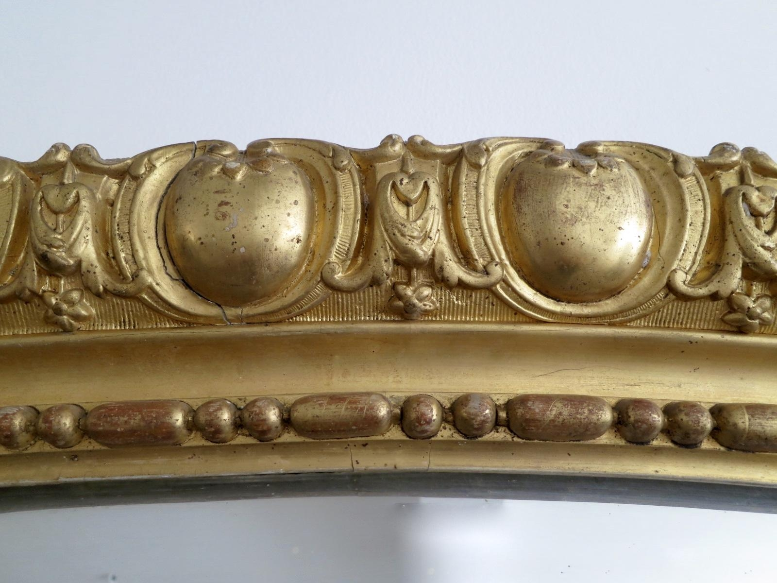 Large Antique French Gold Gilt Mirror For Sale At Pamono Regarding Antique Gilt Mirror (Image 18 of 20)