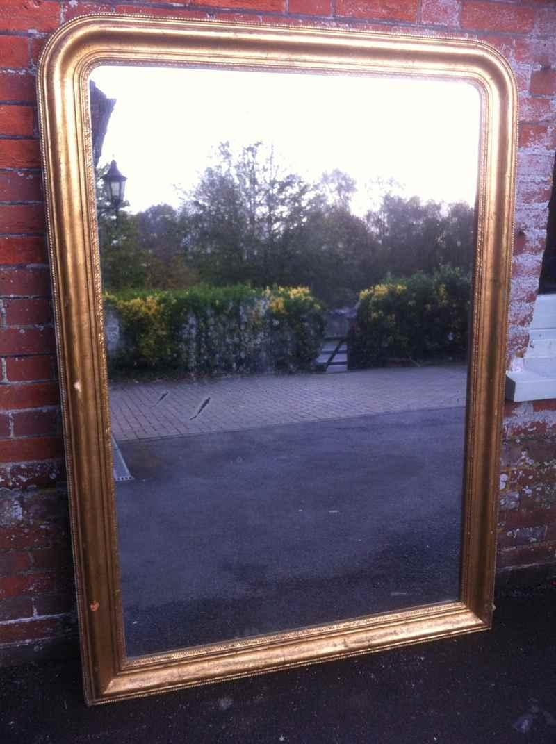 Large Antique French Good Sized Gilt Arched Top Mirror (Image 14 of 20)