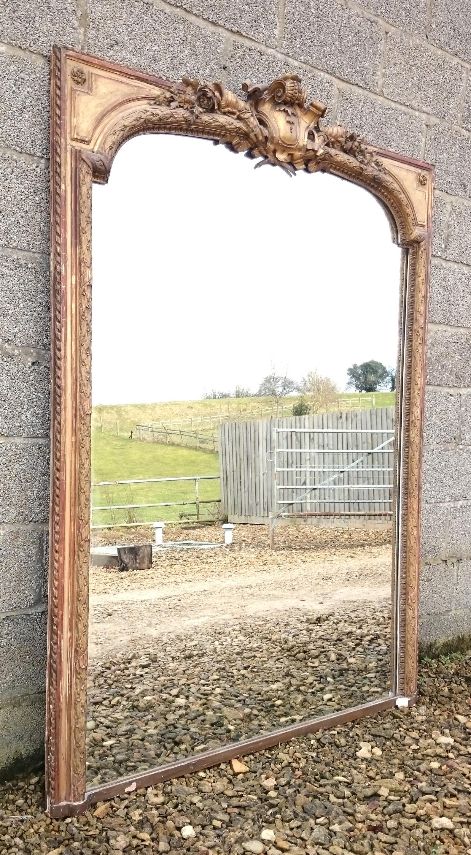 Large Antique Overmantle Mirror (C (Image 10 of 20)