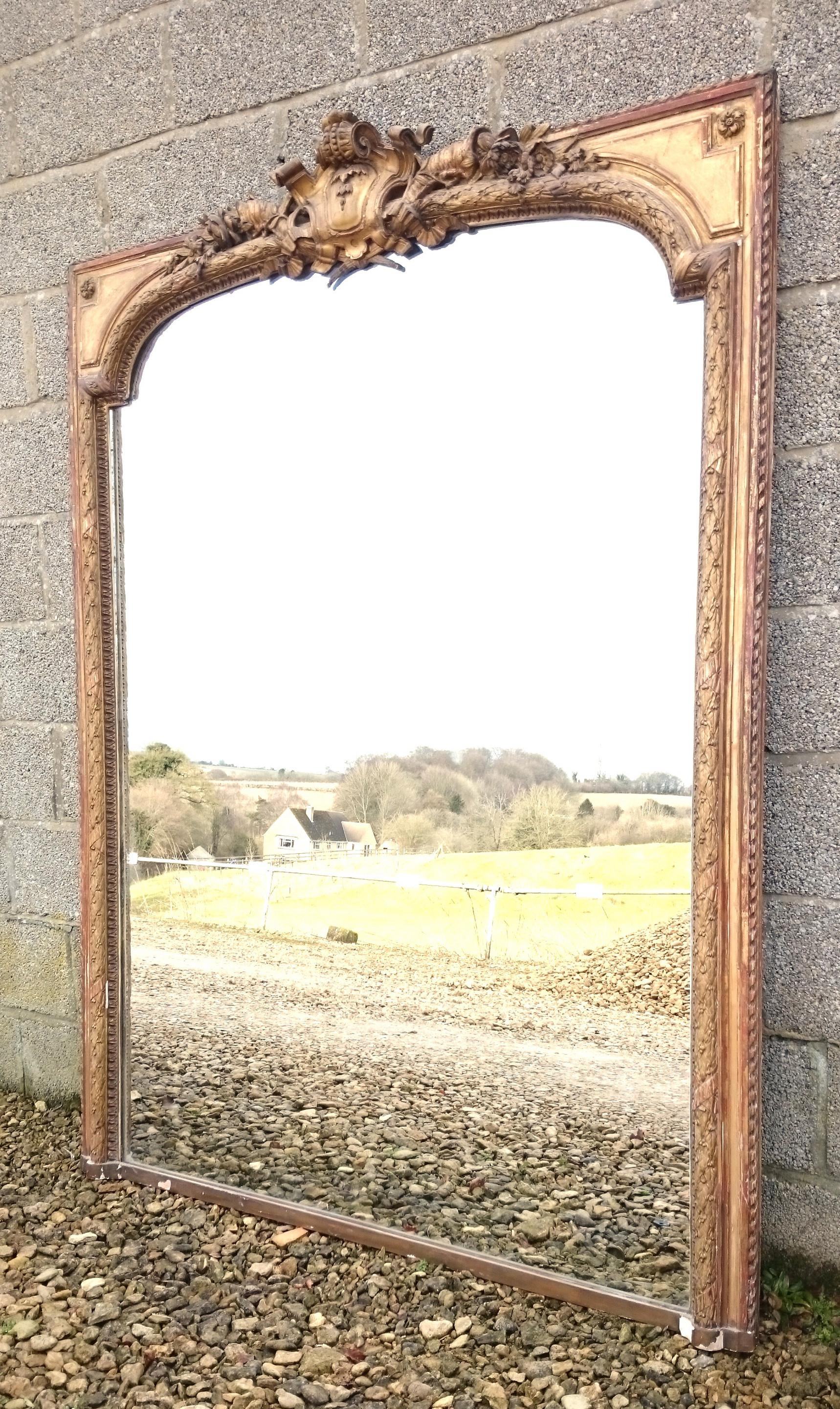 Large Antique Overmantle Mirror (C (Image 11 of 20)