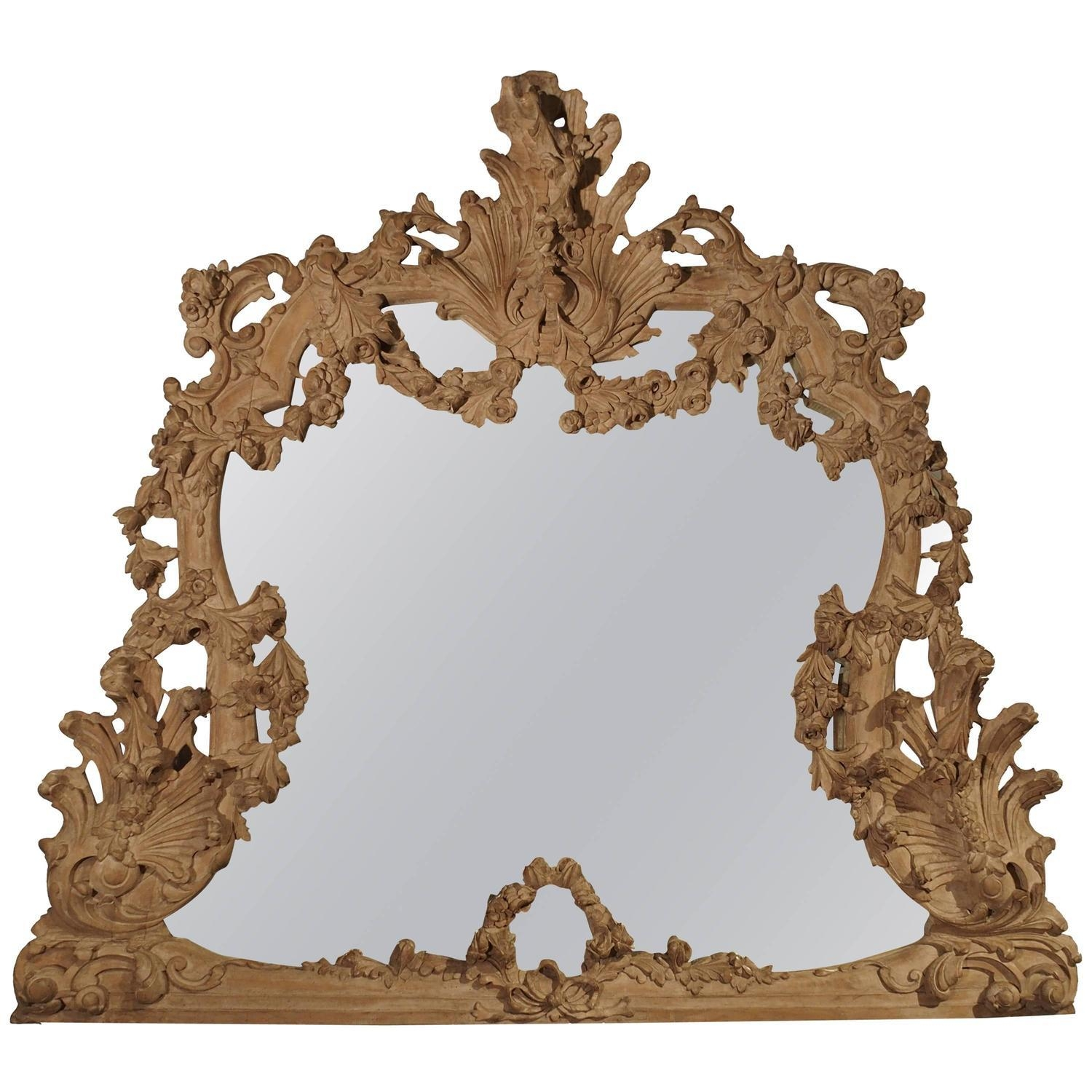 Large Antique Stripped Walnut Wood Rococo Style Mirror For Sale At Pertaining To Antique Mirror For Sale (View 20 of 20)