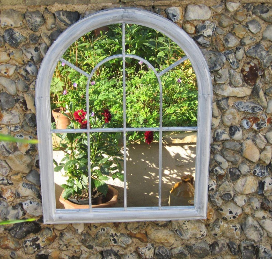 Large Antique White Round Arch Garden Mirror 18 Dazzling Mirror Pertaining To Gothic Garden Mirrors (Image 18 of 20)