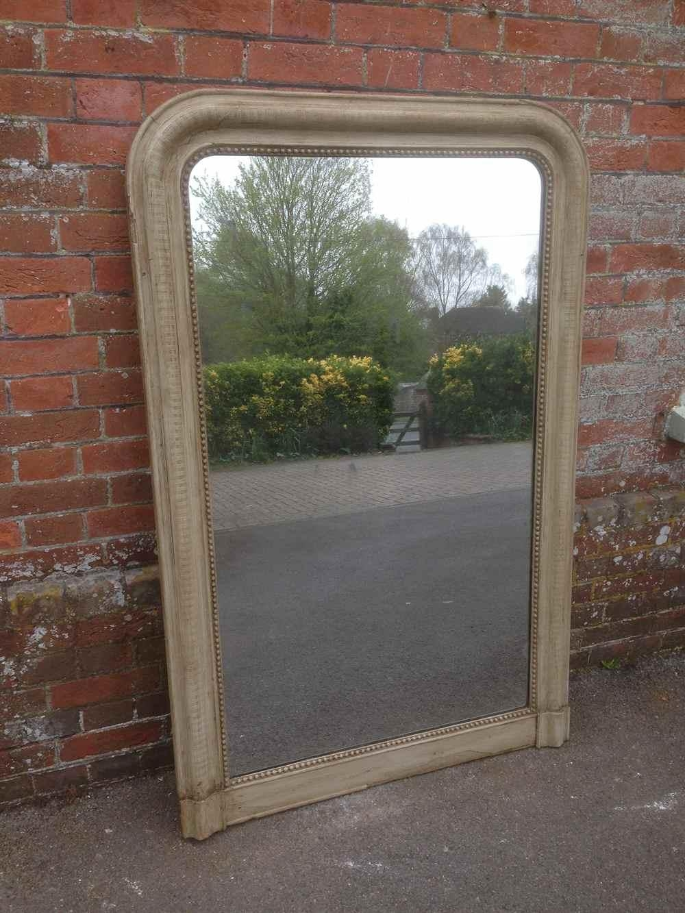 Large Arched Top Highly Useful Antique French Painted Ribbed With Regard To Antique Mirrors Large (Image 15 of 20)