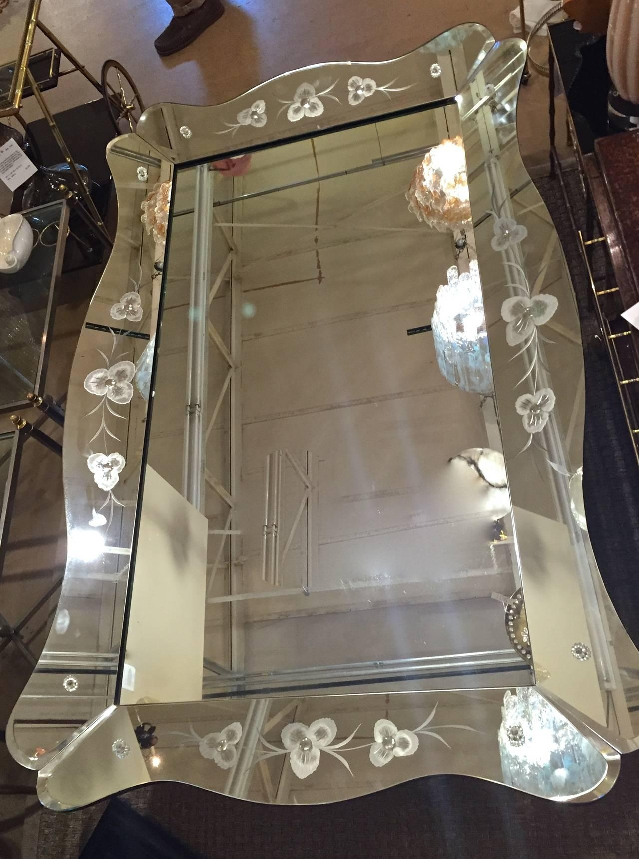 Large Art Deco Etched Curved Edge Wall Mirror At 1Stdibs Inside Large Art Deco Mirrors (Image 10 of 20)