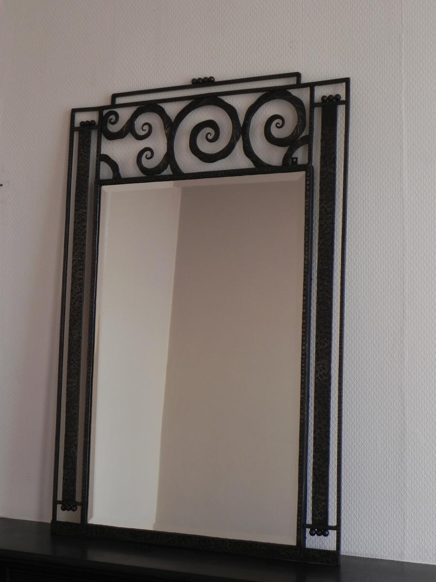 Large Art Deco Mirror With Steel Frame, 1930S For Sale At Pamono In Art Deco Mirrors (Image 15 of 20)