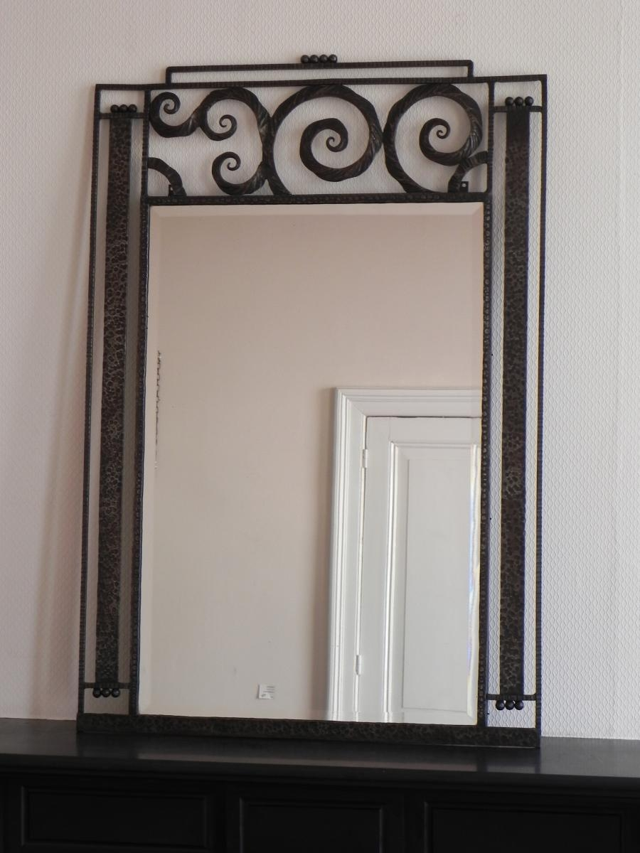 Large Art Deco Mirror With Steel Frame, 1930S For Sale At Pamono In Large Art Deco Mirror (Image 13 of 20)