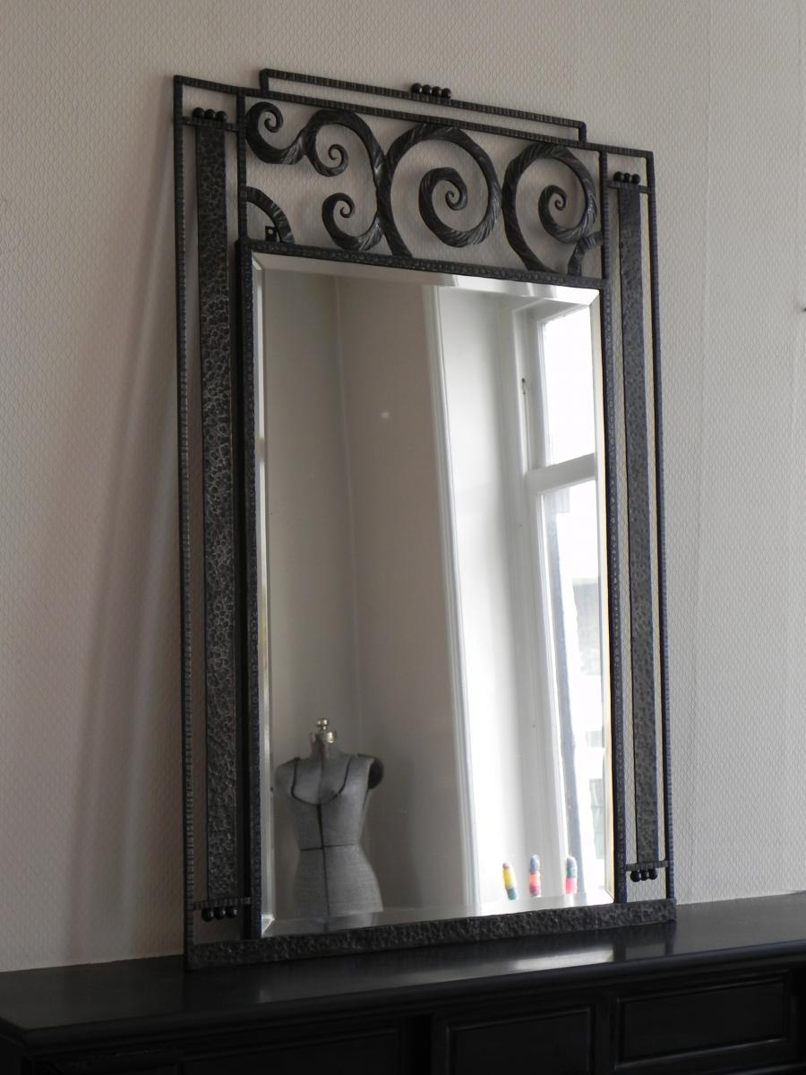 Large Art Deco Mirror With Steel Frame, 1930S For Sale At Pamono Inside Art Deco Large Mirror (Image 14 of 20)