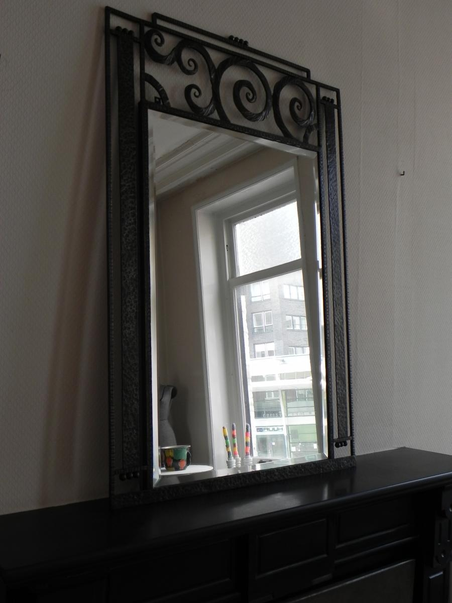 Large Art Deco Mirror With Steel Frame, 1930S For Sale At Pamono Intended For Large Art Deco Mirrors (Image 14 of 20)