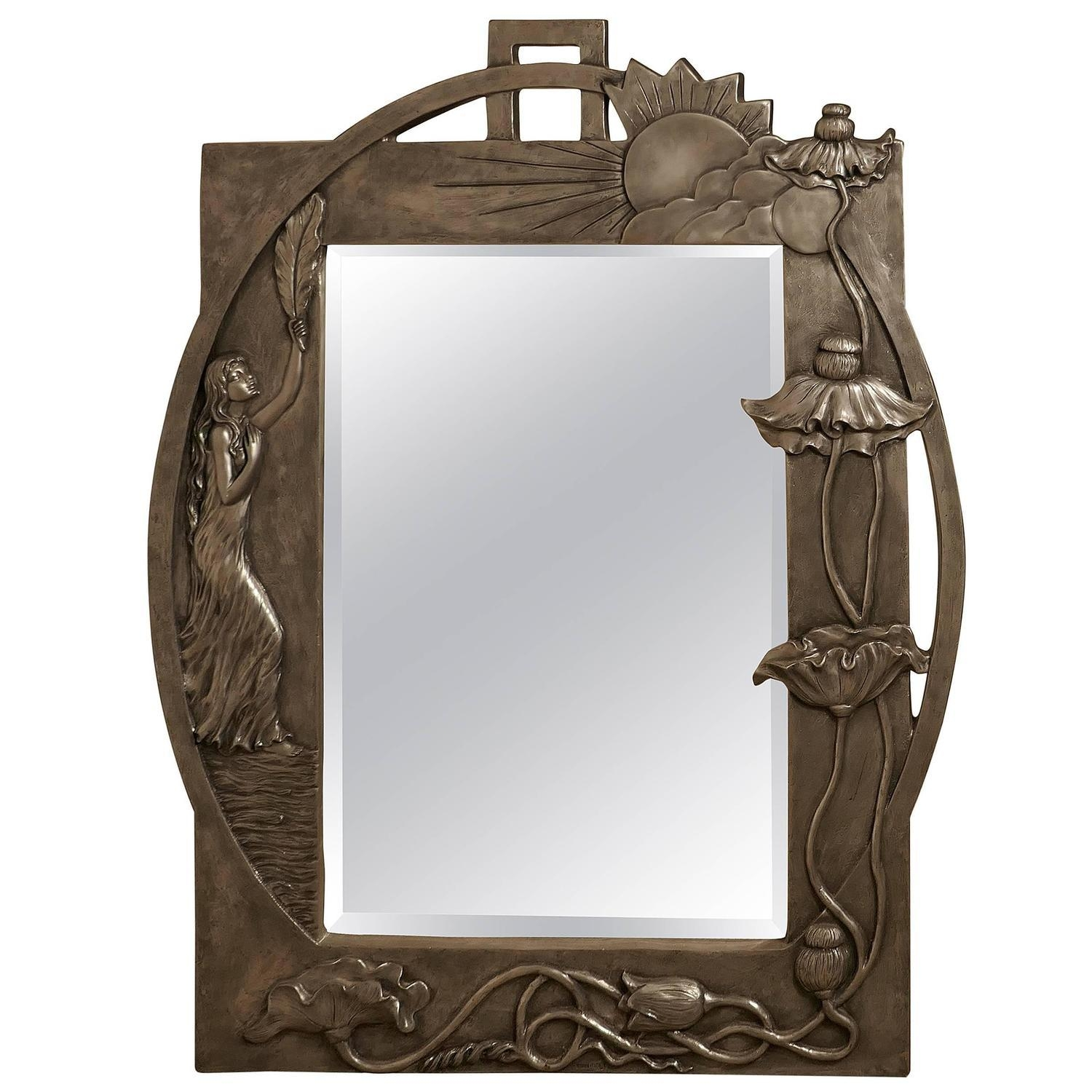 Large Art Nouveau Pewter Wall Mirror, Made In Francerosa Art Intended For Large Art Deco Wall Mirror (Image 17 of 20)