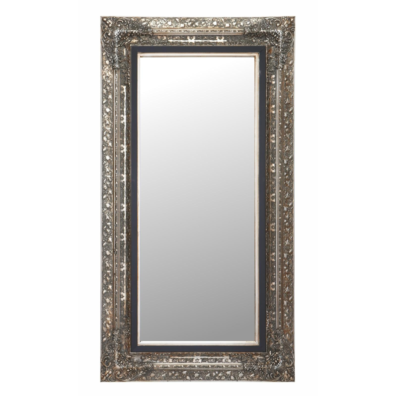 "Large Baroque Mirror ""laura"" Facet Cut Silver 39.7"" X (View 9 of 20)"