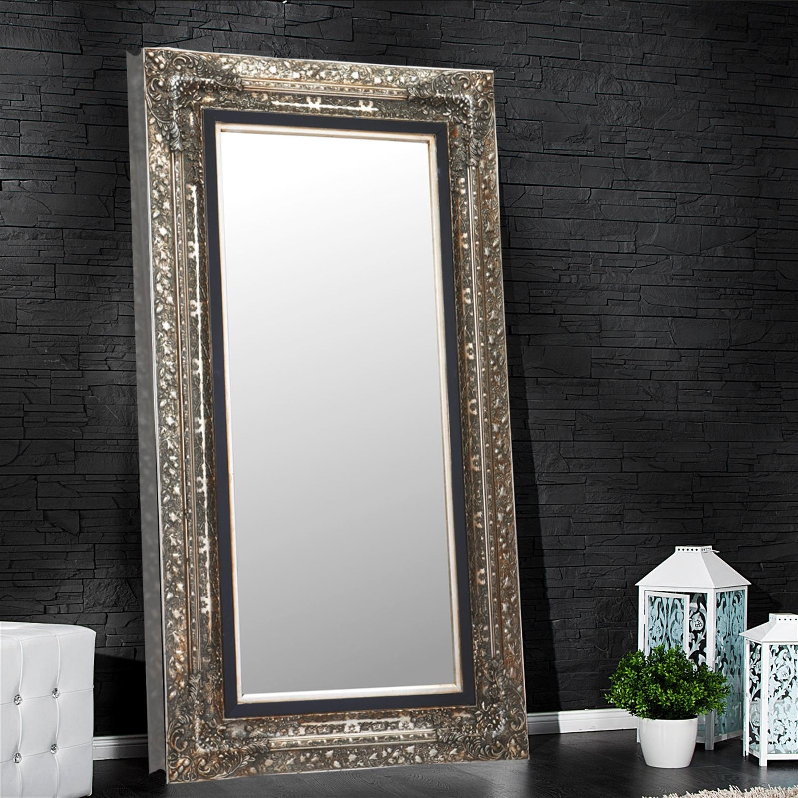 "Large Baroque Mirror ""laura"" Facet Cut Silver 39.7"" X (View 11 of 20)"