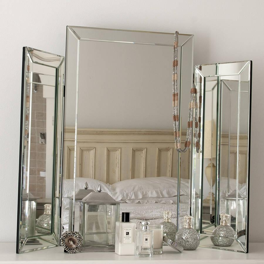 Large Bevelled Dressing Table Triple Mirrordecorative Mirrors Within Dressing Table Mirror (Image 10 of 20)