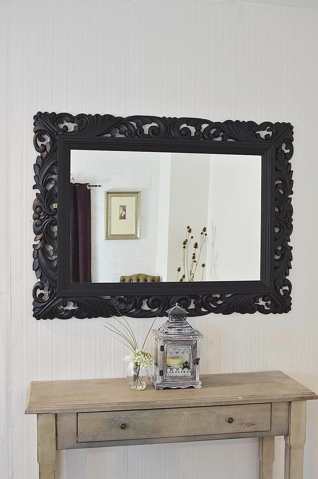 Large Black Framed Wall Mirror 122 Beautiful Decoration Also Large Throughout Black Shabby Chic Mirror (Image 14 of 20)