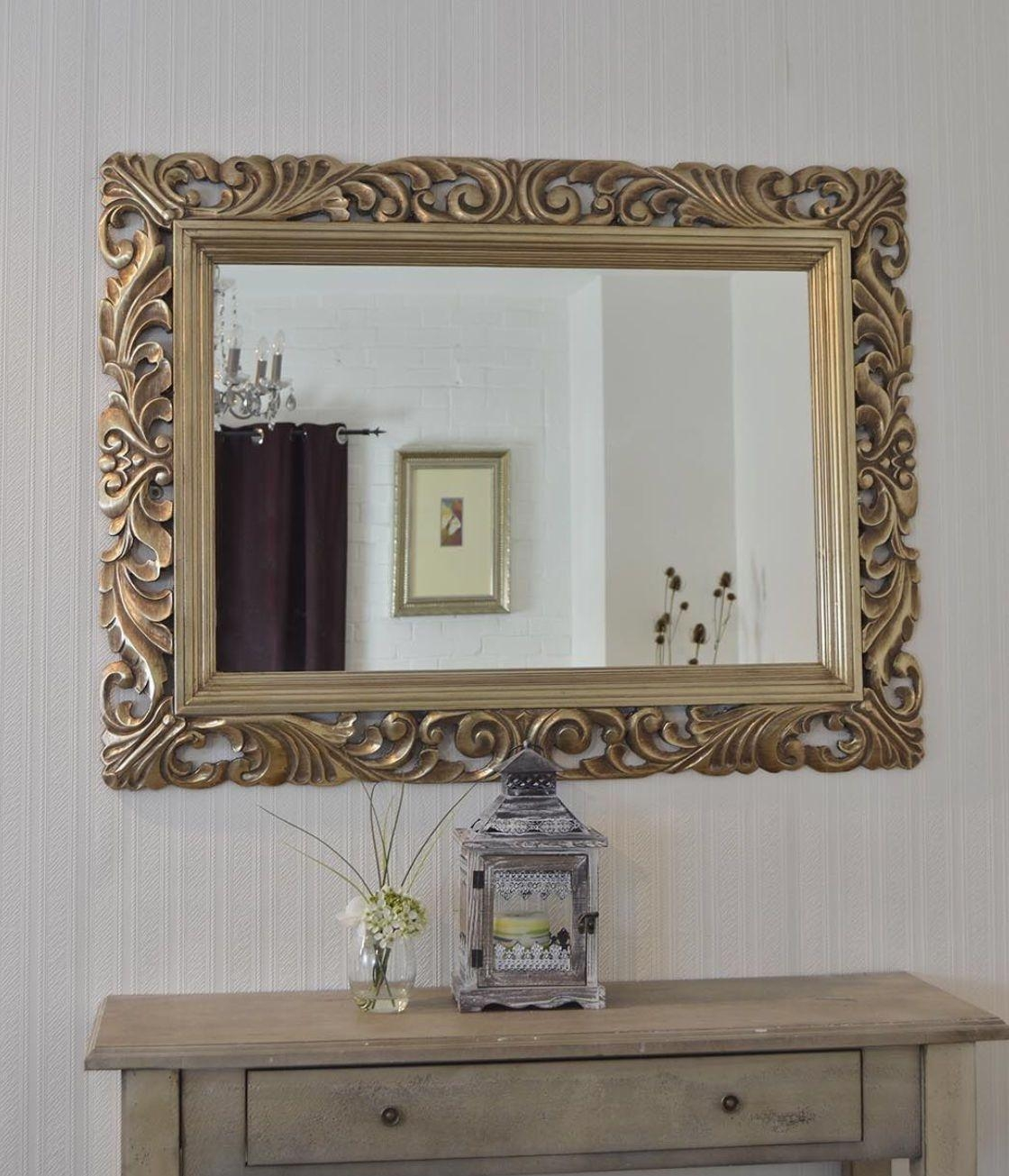 Large Bright Silver Carved Ornate Bevelled Mirror –  (View 11 of 20)