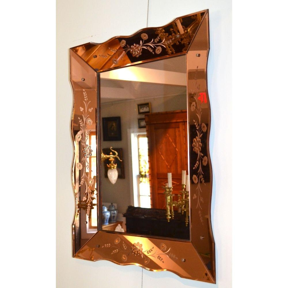 Large Colored Glass Venetian Etched Art Deco Wall Mirror, Italy Regarding Large Art Deco Wall Mirror (Image 19 of 20)