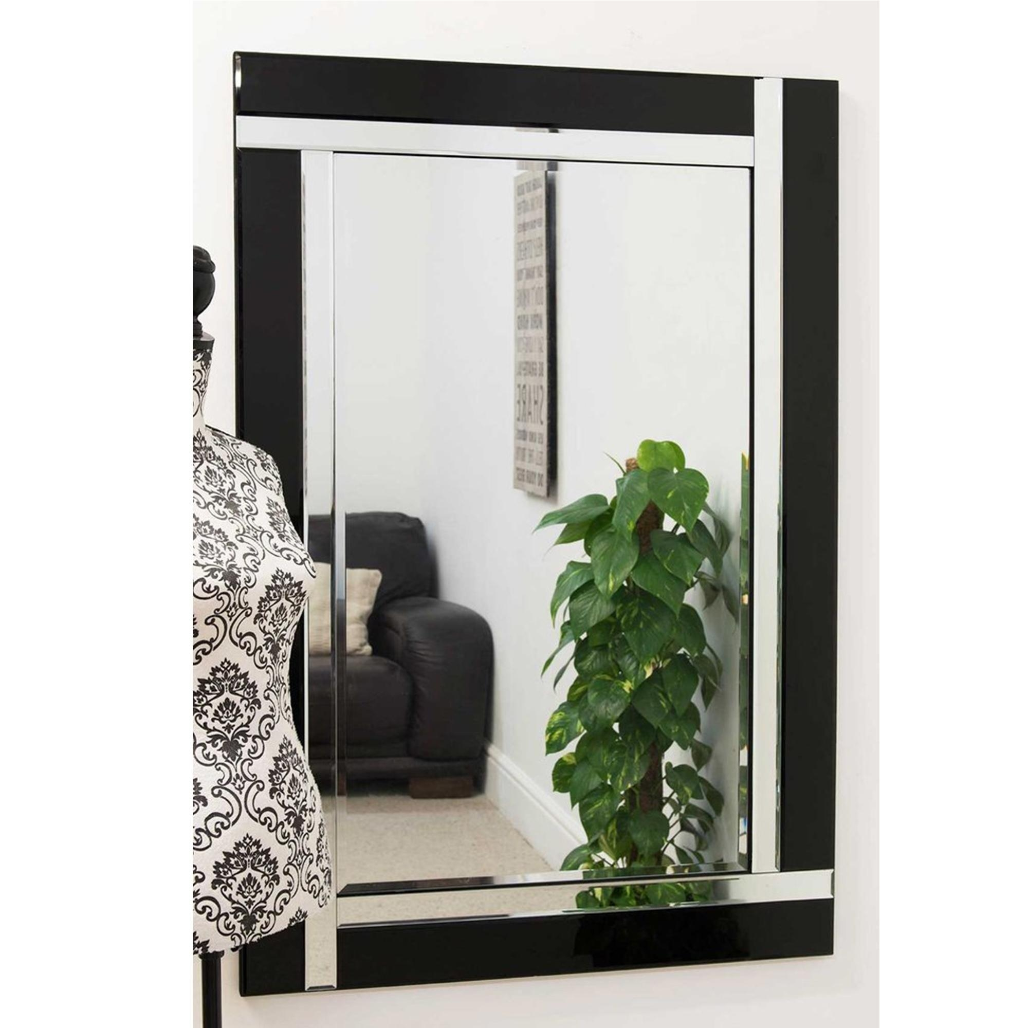 Large Contemporary Black Venetian Mirror | Decorative Venetian Mirrors Regarding Large Venetian Mirrors (Image 9 of 20)