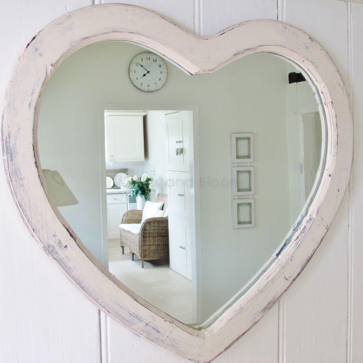 Large Cream Heart Wall Mirror | Bliss And Bloom Ltd For Heart Shaped Mirrors For Walls (Image 13 of 20)