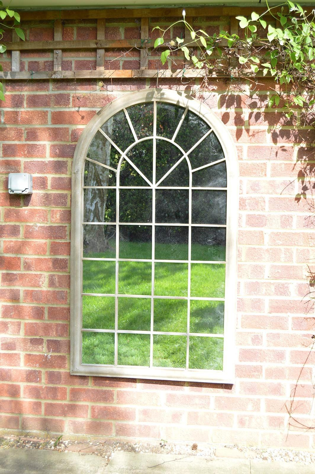 Large Cream Rustic Arched Window Garden Outdoor Mirror New 4Ft3 X 2Ft6 Regarding Garden Mirrors For Sale (Image 14 of 20)