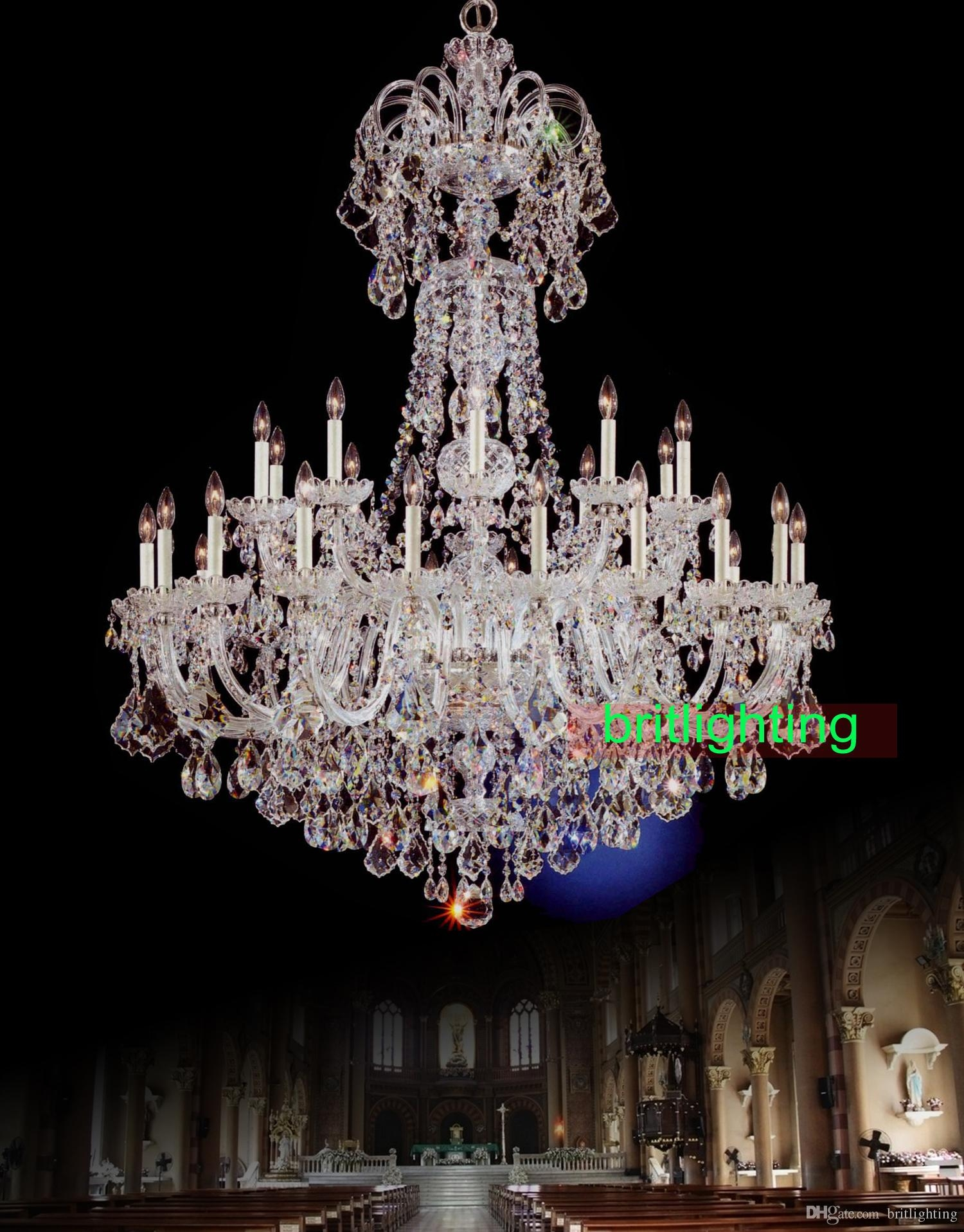 Large Crystal Chandelier Led Candle Style Chandelier Multi Tier Inside Crystal Chrome Chandeliers (Image 18 of 25)