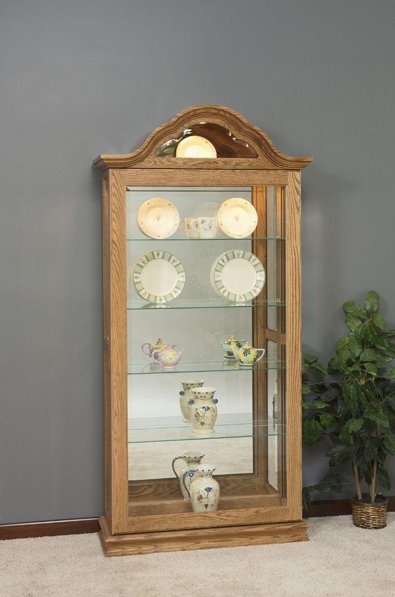 Large Curio Cabinet With Curved Arched Top From Dutchcrafters Amish Throughout Curved Top Mirror (Image 15 of 20)