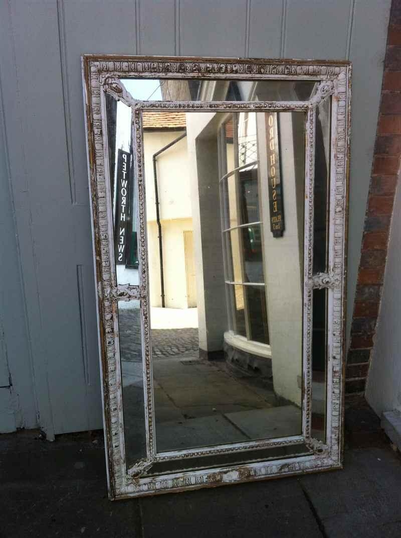 Large Early 19Th Century French Original Painted Distressed Wall Pertaining To French Wall Mirrors (Image 10 of 20)