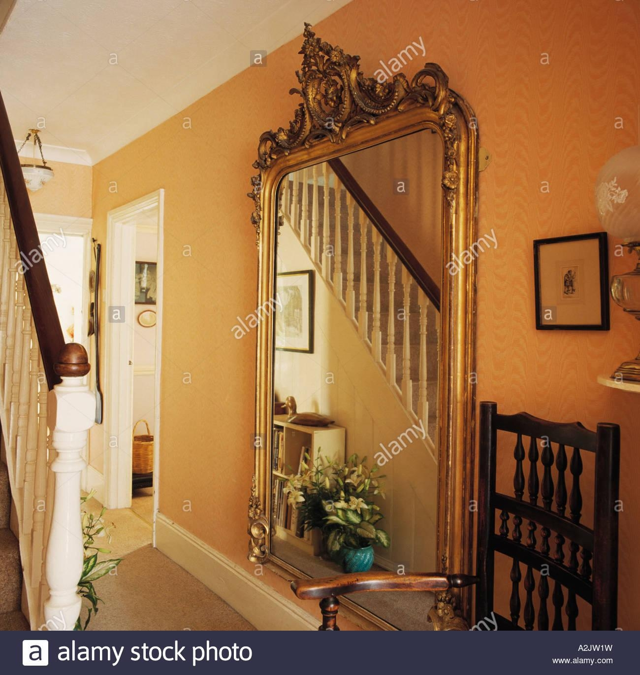Large Gilt Mirror In Yellow Hall Stock Photo, Royalty Free Image Intended For Large Gilt Mirror (Image 11 of 20)