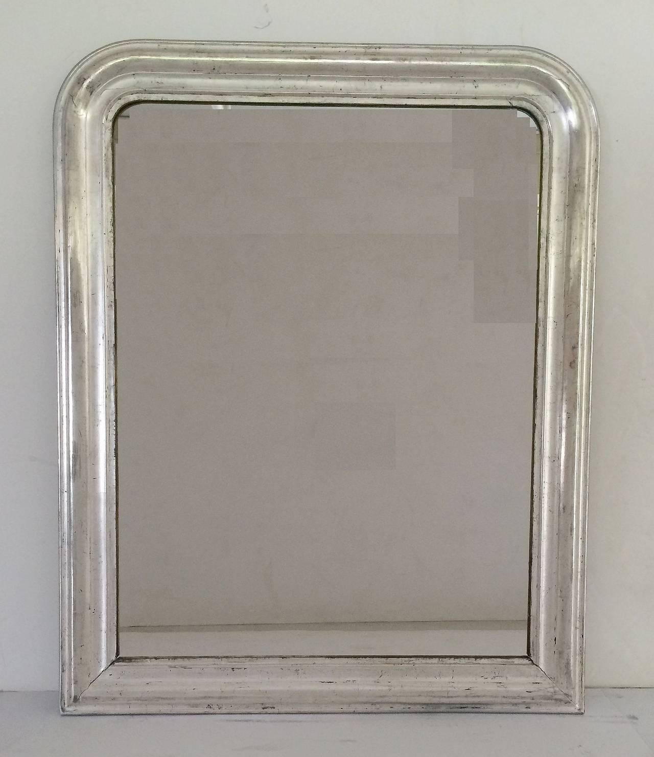 Large Louis Philippe Silver Gilt Mirror (H 44 X W 35) For Sale At Regarding Silver Gilt Mirror (Image 15 of 20)