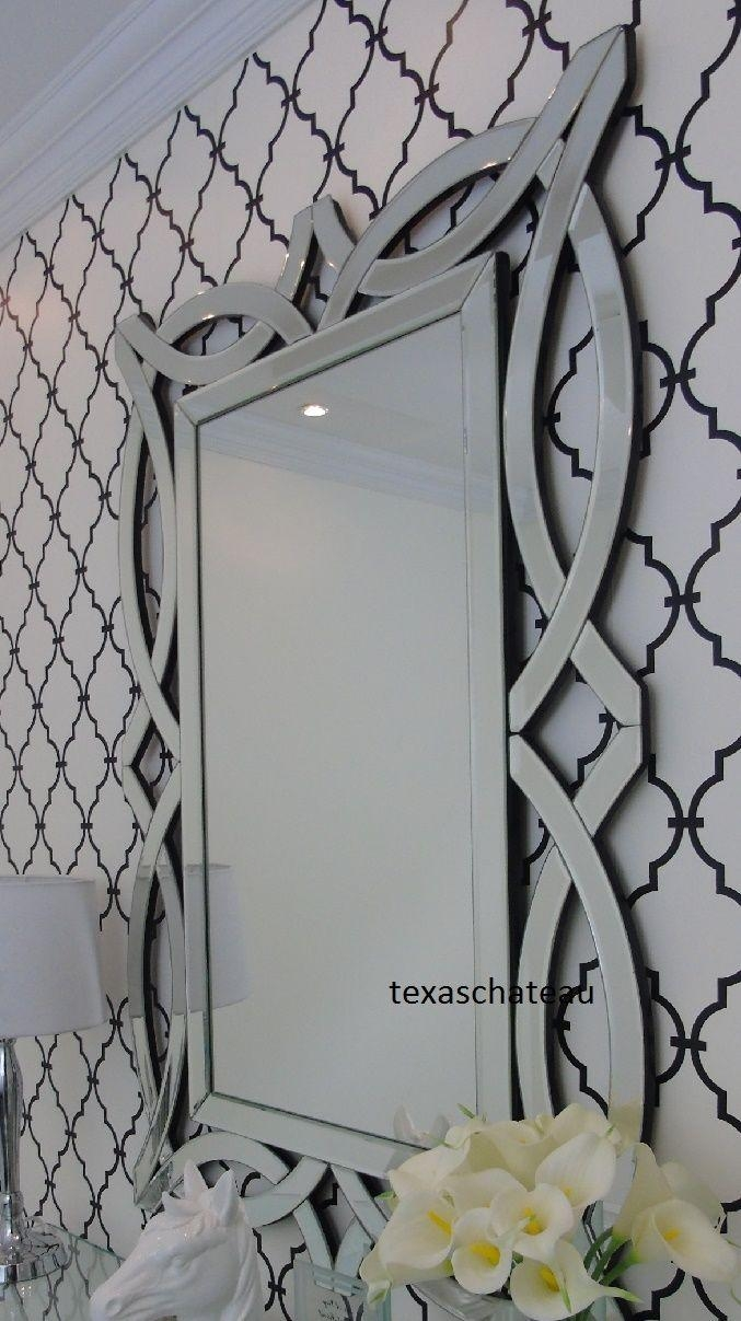 Large Modern French Farmhouse Venetian Wall Mirror Framed Scroll Intended For Large Venetian Wall Mirror (Image 11 of 20)