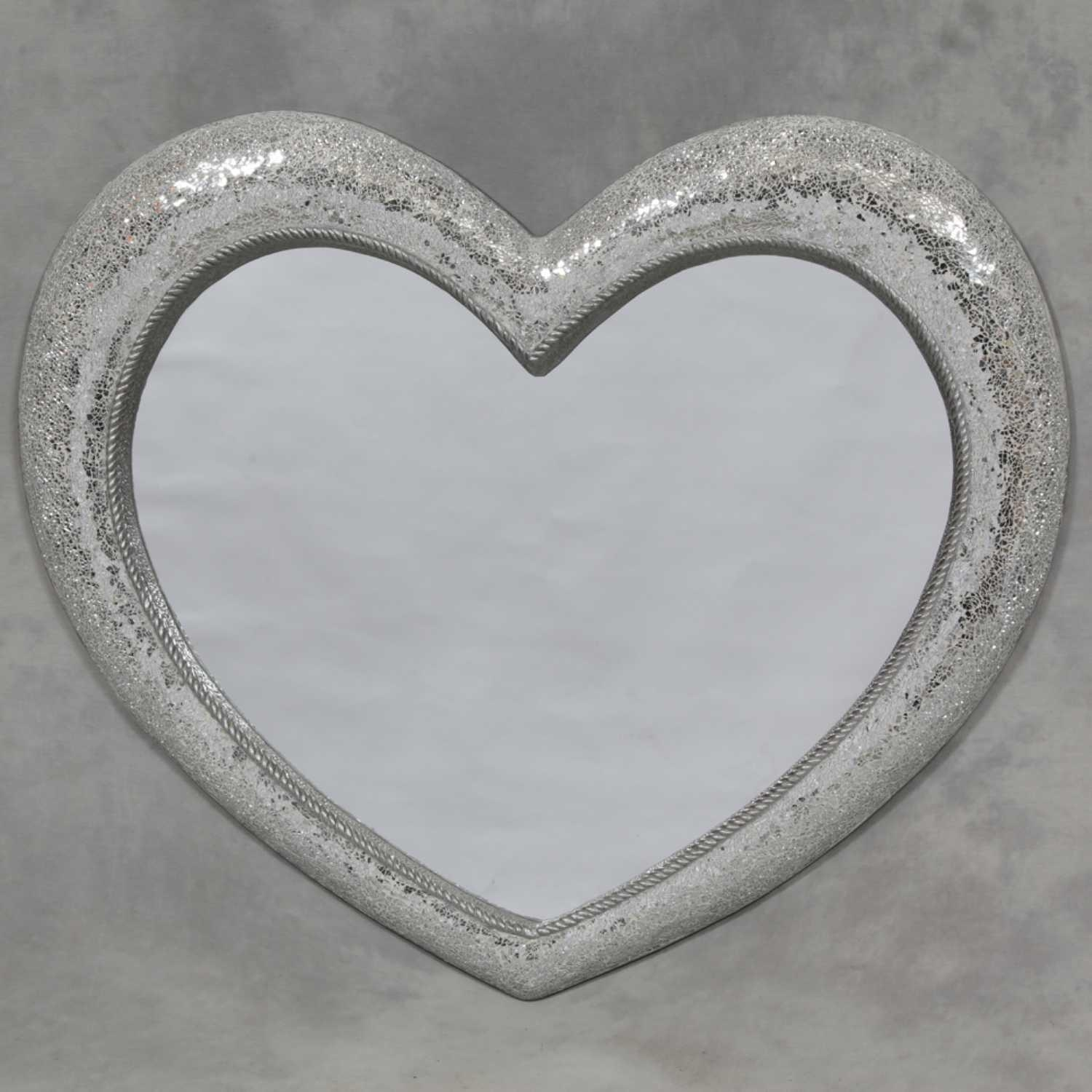 Large Mosaic Crackle Glass Framed Heart Shaped Wall Mirror Intended For Large Mosaic Mirror (Image 6 of 20)