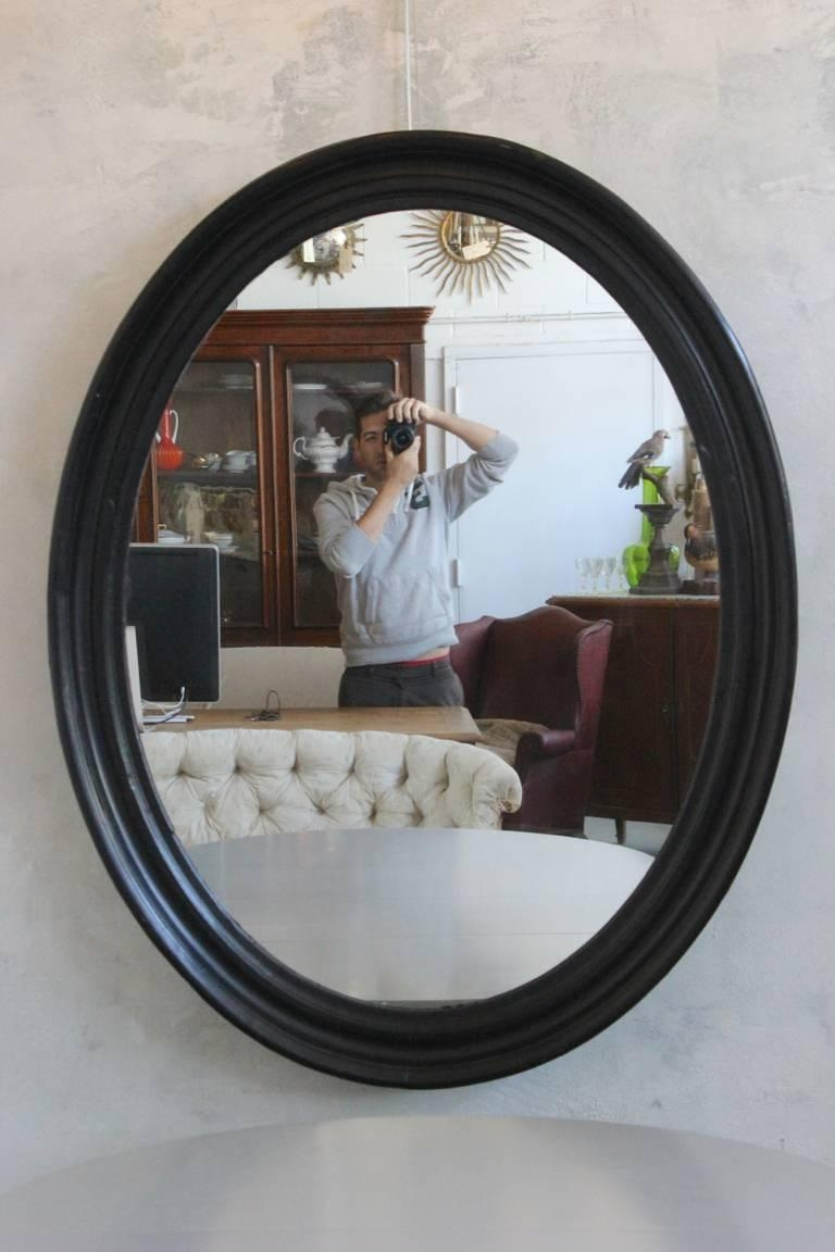 Large Napoleon Iii Oval Mirror With Black Painted Frame For Sale Regarding Large Oval Mirror (Image 11 of 20)