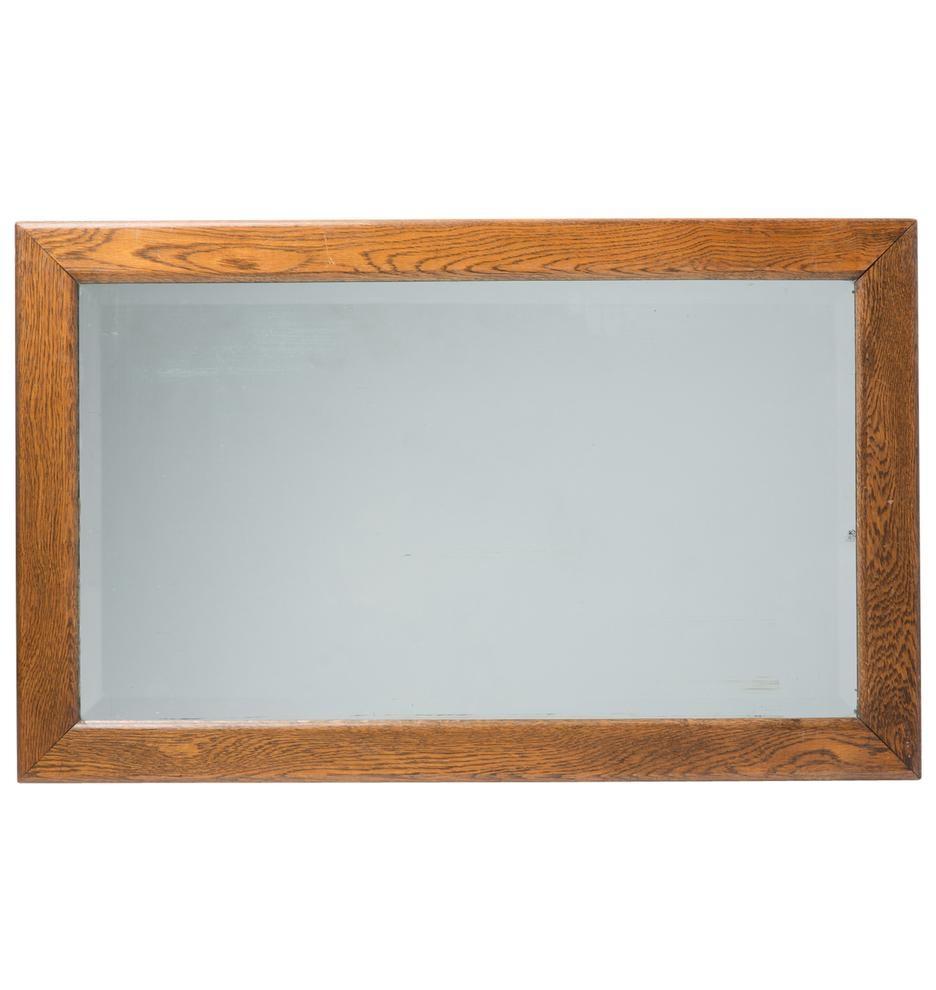 Large Oak Framed Mirror W/ Beveled Glass | Rejuvenation Within Large Oak Mirrors (Image 8 of 20)