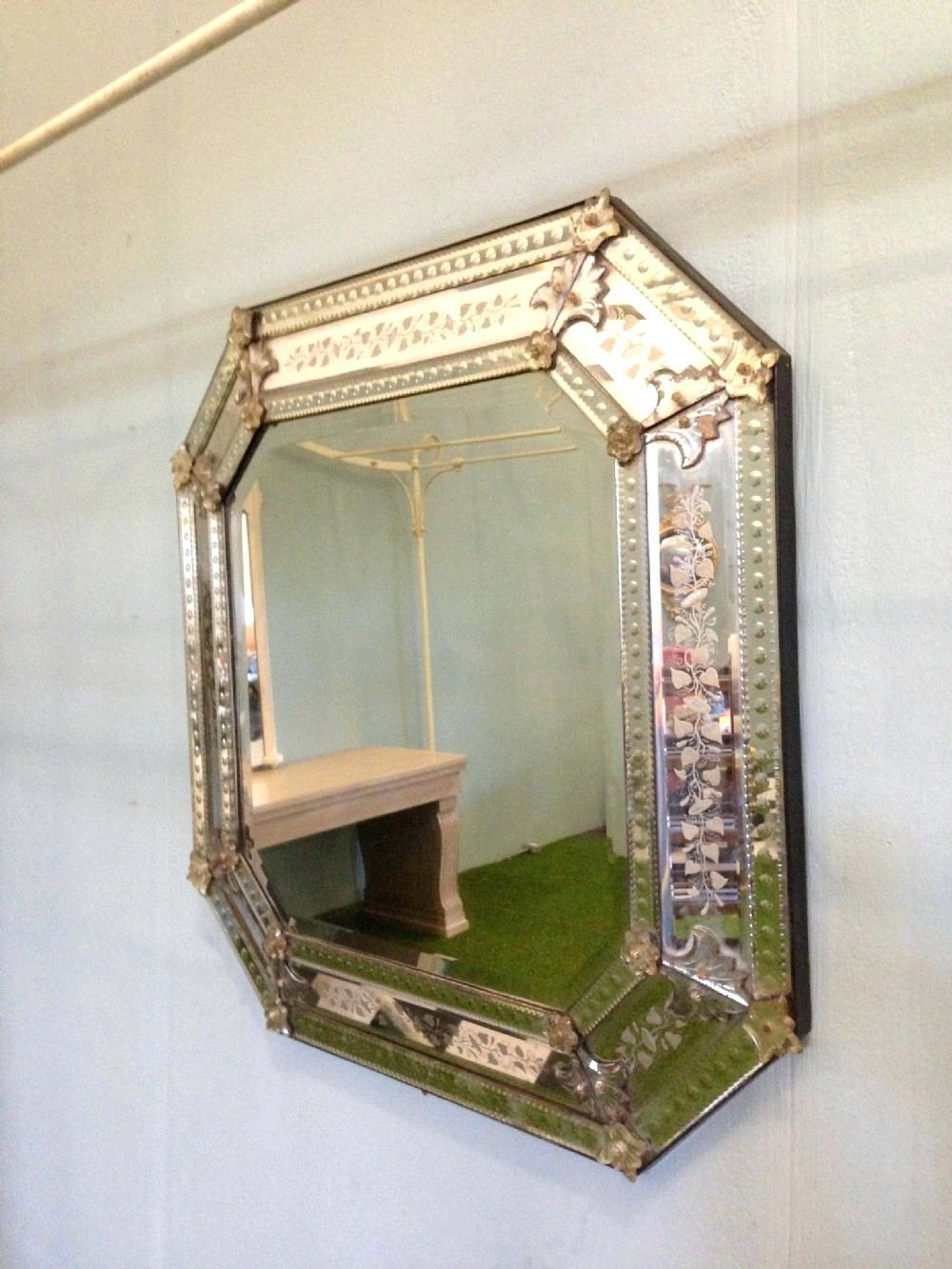 Large Octagonal Venetian Wall Mirror With Decorative Detailed Intended For Large Venetian Wall Mirror (Image 12 of 20)