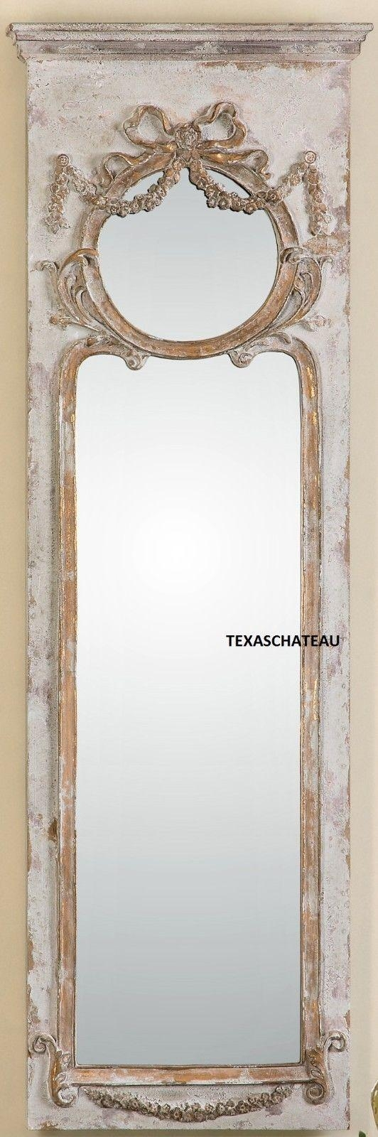 Large Ornate French Antique Cream Gold Trumeau Mirror Dressing Within Antique Cream Mirror (Image 14 of 20)