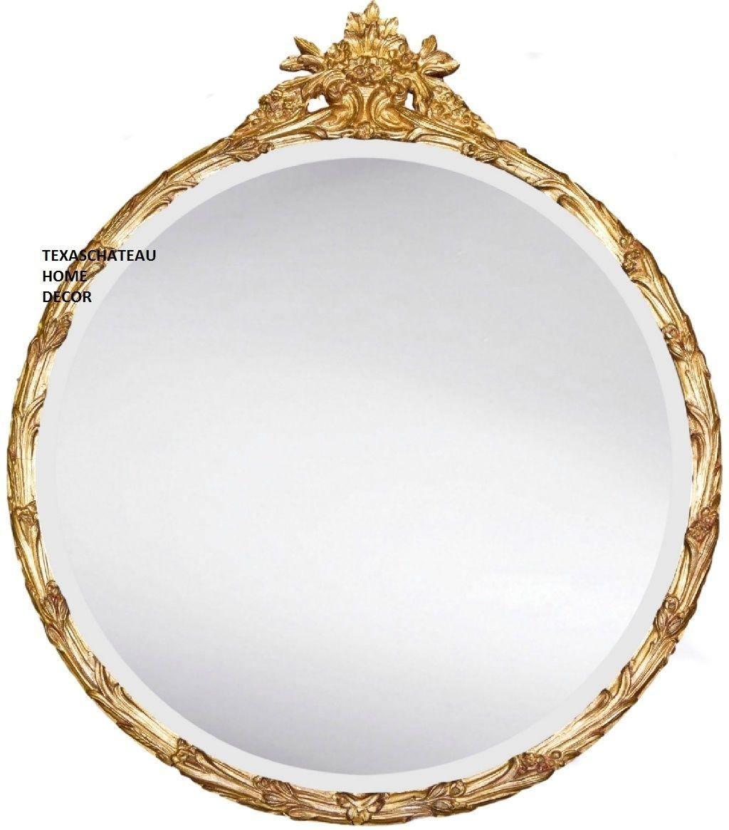 Large Ornate Round Gold Gilt Mirror Antique French Regency Baroque With Gold Gilt Mirror (Image 14 of 20)