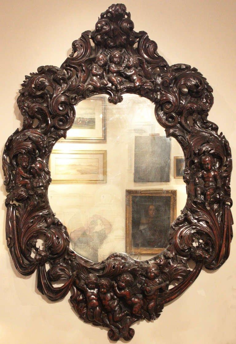 Large Oval Mirror With Carved Putti For Sale At 1Stdibs Within Large Oval Mirror (Image 13 of 20)
