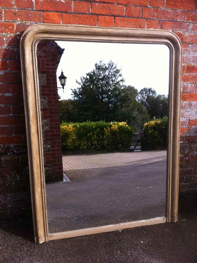 Large Painted French Antique Arched Top Mirror (Image 16 of 20)